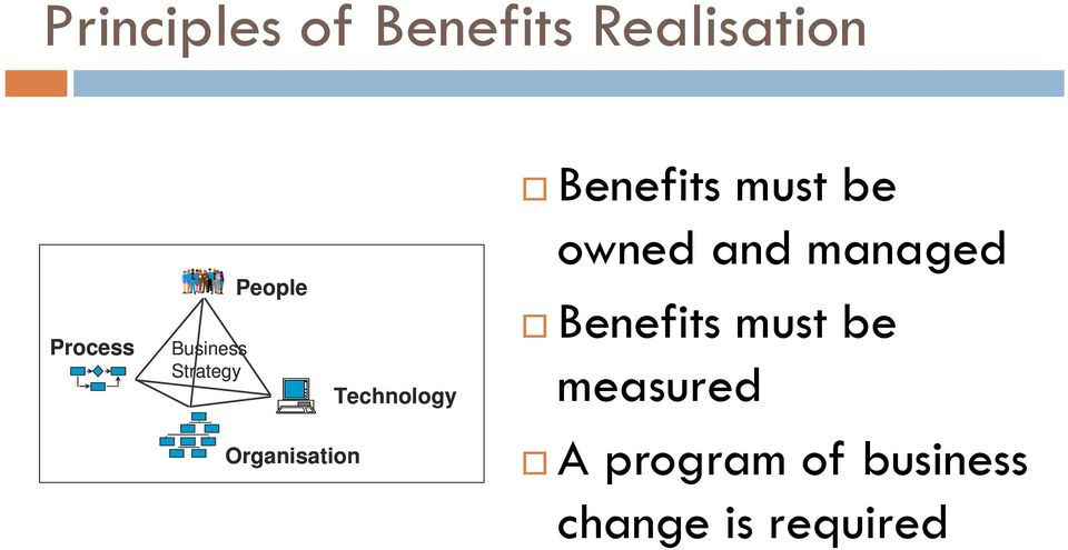 Benefits must be owned and managed Benefits must