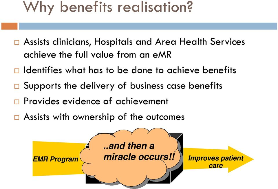 Identifies what has to be done to achieve benefits Supports the delivery of business case