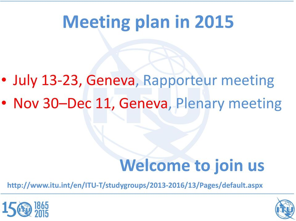 Plenary meeting Welcome to join us http://www.