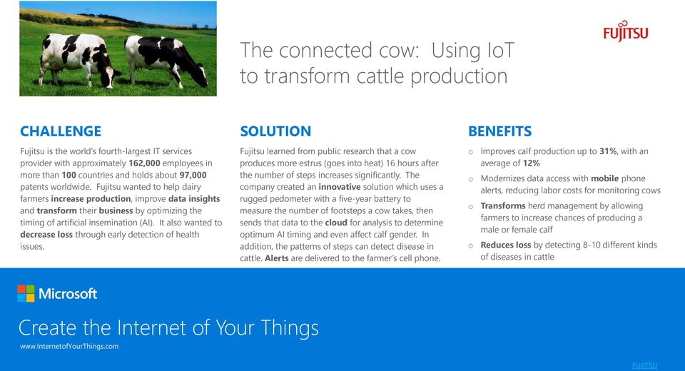 Fujitsu wanted to help dairy farmers increase production, improve data insights and transform their business by optimizing the timing of artificial insemination (AI).