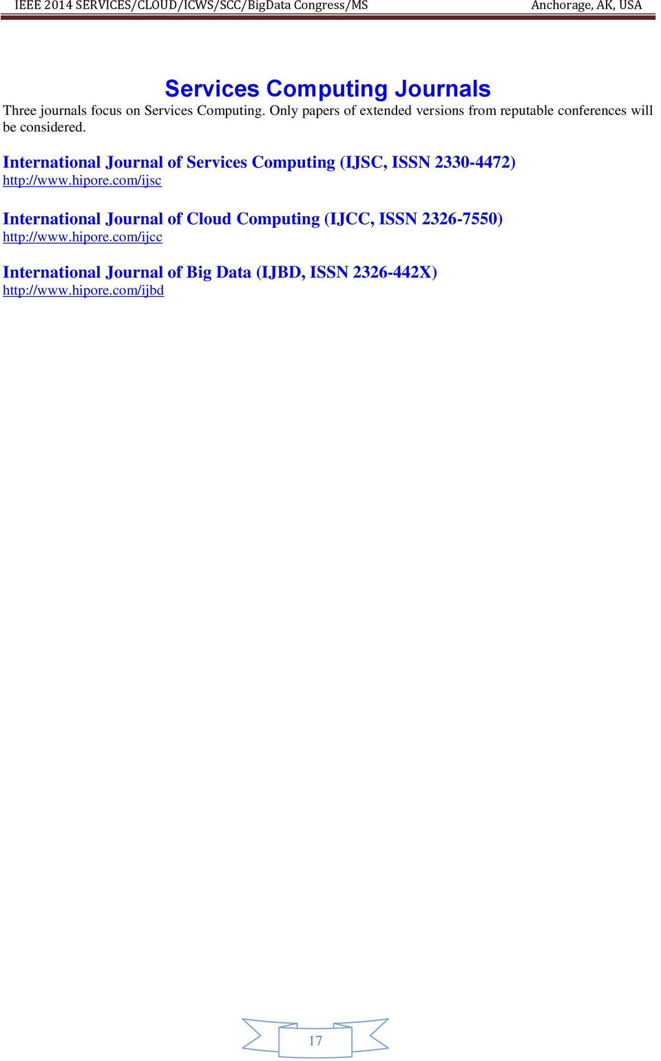 International Journal of Services Computing (IJSC, ISSN 2330-4472) http://www.hipore.