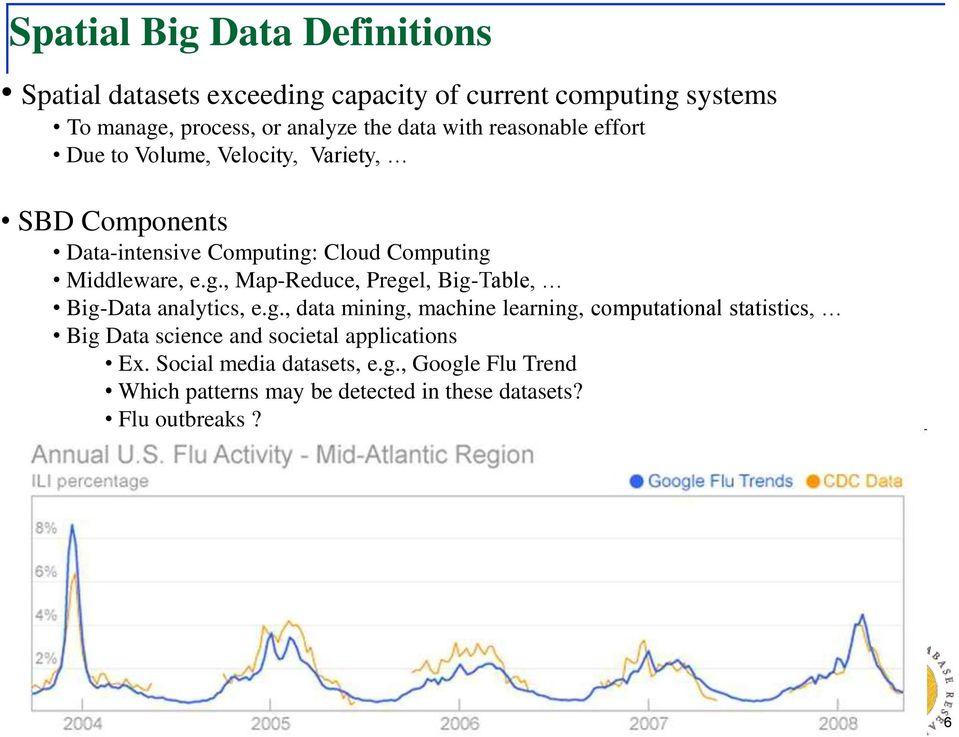 Cloud Computing Middleware, e.g., Map-Reduce, Pregel, Big-Table, Big-Data analytics, e.g., data mining, machine learning, computational statistics, Big Data science and societal applications Ex.