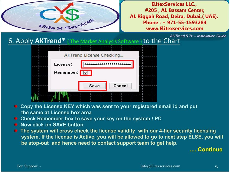 button The system will cross check the license validity with our 4-tier security licensing system, If the license is