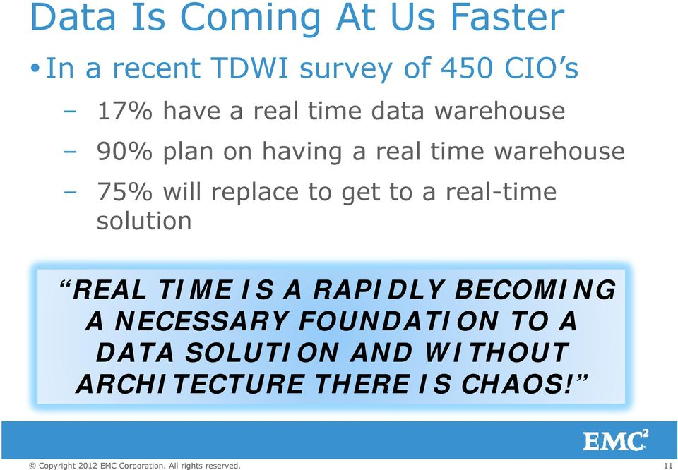replace to get to a real-time solution REAL TIME IS A RAPIDLY BECOMING A