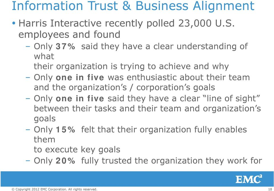 was enthusiastic ti about their team and the organization s / corporation s goals Only one in five said they have a clear line of sight