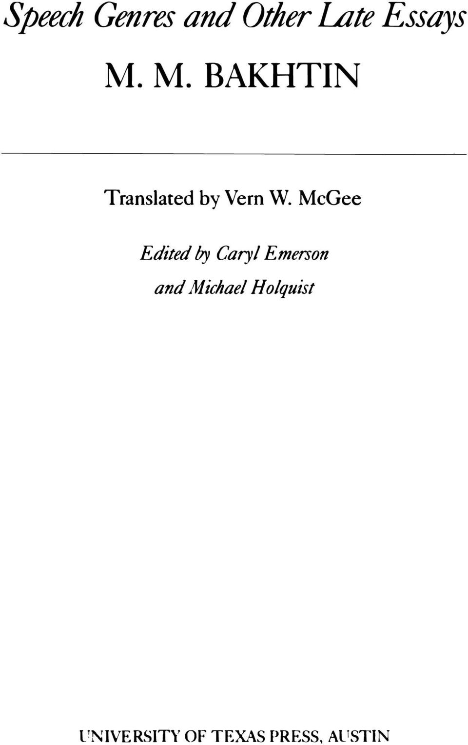 McGee Edited by Caryl Emerson and