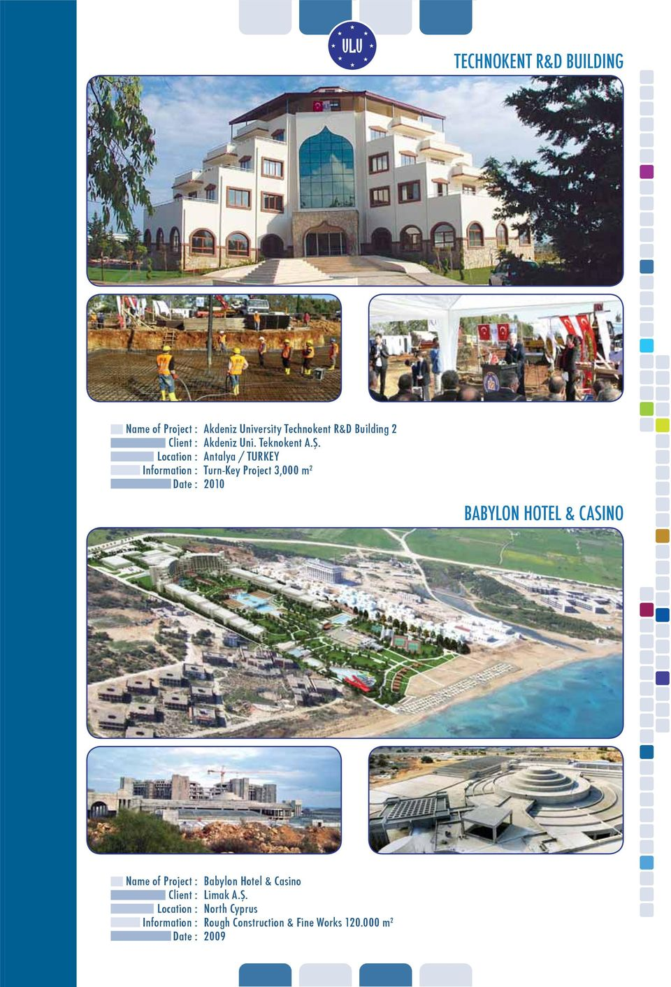 Antalya / TURKEY Turn-Key Project 3,000 m 2 2010 BABYLON HOTEL &