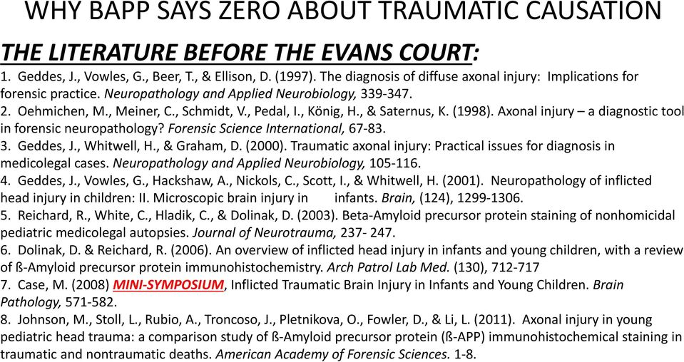 Forensic Science International, 67 83. 3. Geddes, J., Whitwell, H., & Graham, D. (2000). Traumatic axonal injury: Practical issues for diagnosis in medicolegal cases.