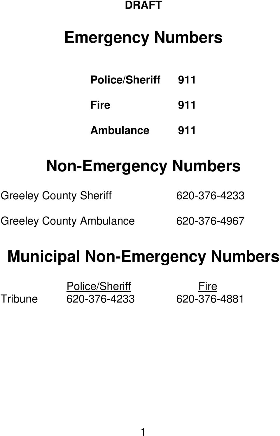 Greeley County Ambulance 620-376-4967 Municipal