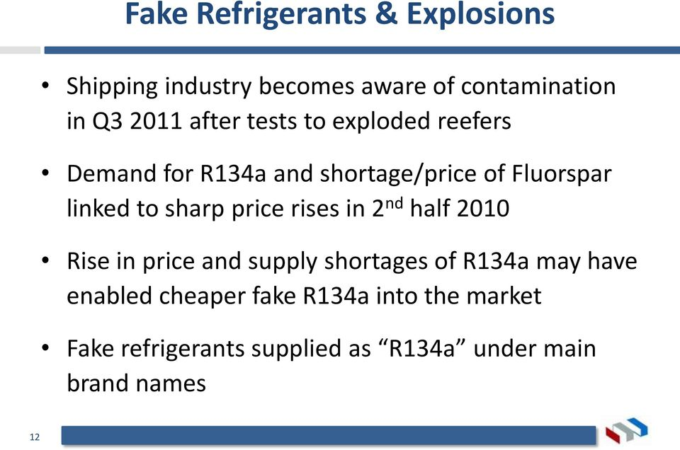 sharp price rises in 2 nd half 2010 Rise in price and supply shortages of R134a may have