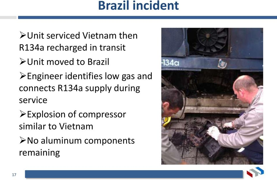 and connects R134a supply during service Explosion of