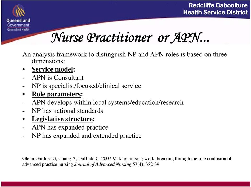 specialist/focused/clinical service Role parameters: - APN develops within local systems/education/research - NP has national standards