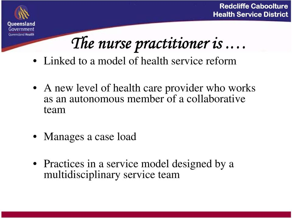 care provider who works as an autonomous member of a