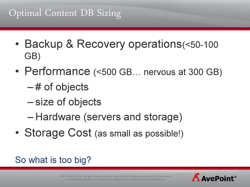 300 GB) # of objects size of objects Hardware (servers