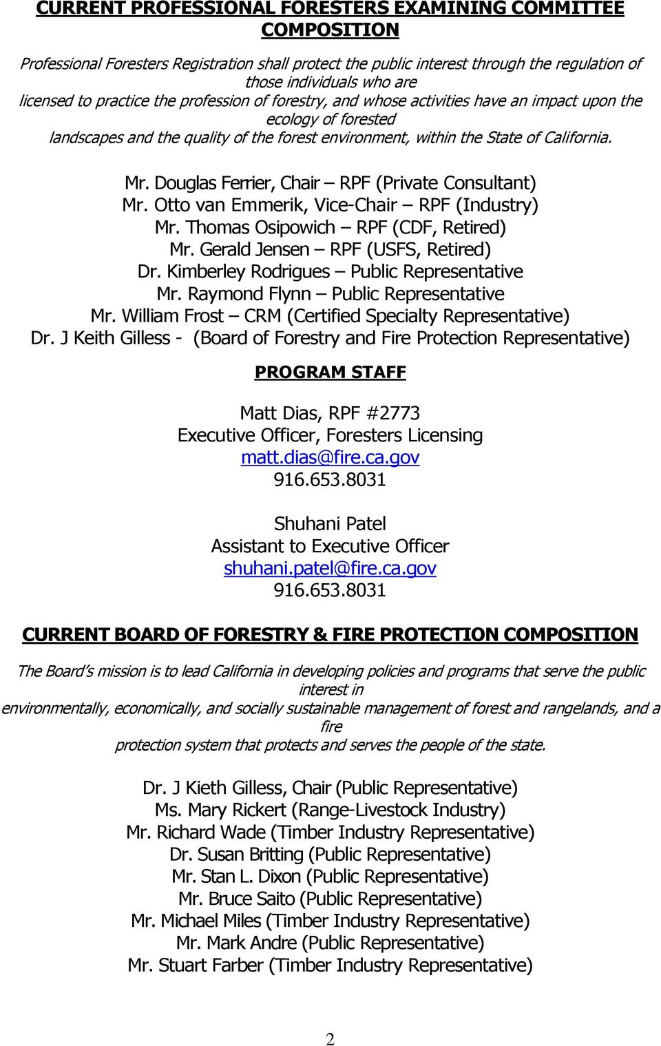 Board of Forestry and Fire Protection Professional Foresters