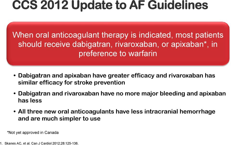 stroke prevention Dabigatran and rivaroxaban have no more major bleeding and apixaban has less All three new oral anticoagulants