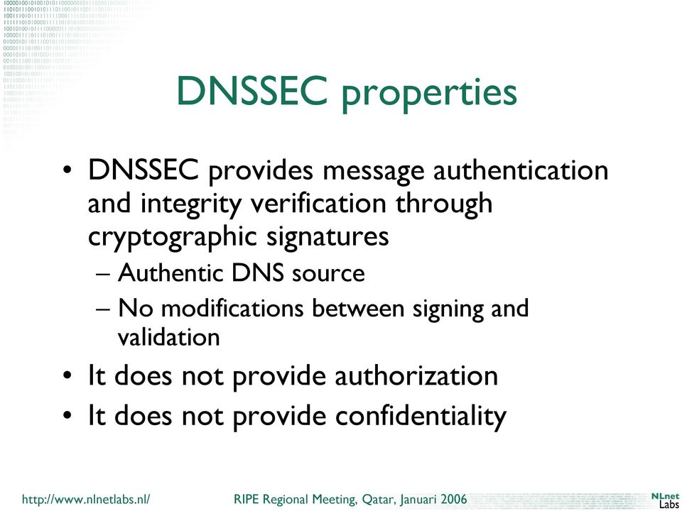 Authentic DNS source No modifications between signing and