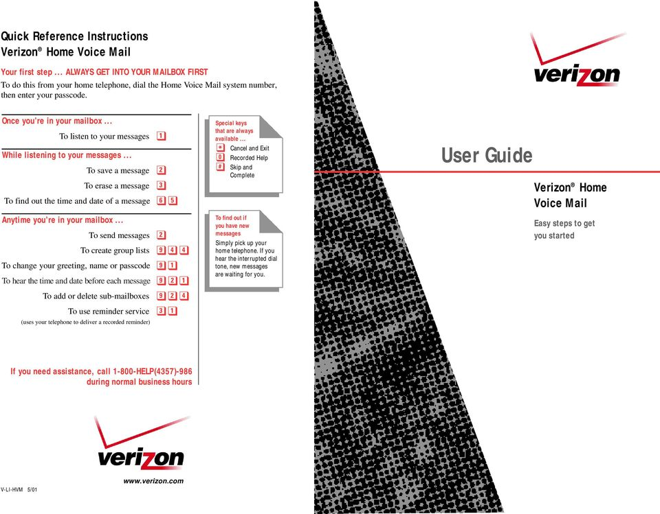 User guide quick reference instructions verizon home voice mail pdf to listen to your messages while listening to your messages to m4hsunfo