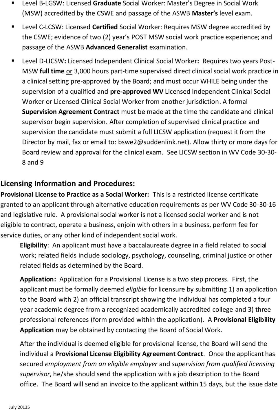 Professional Manual For Licensed Social Workers Wv Board Of Social