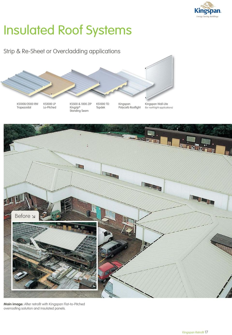 Topdek Kingspan Polycarb Rooflight Kingspan Wall-Lite (for northlight applications) Before Main