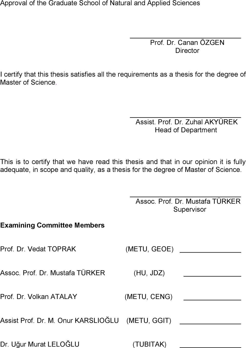 ctor I certfy that ths thess satsfes all the requrements as a thess for the degree of Master of Scence. Assst. Prof. Dr.