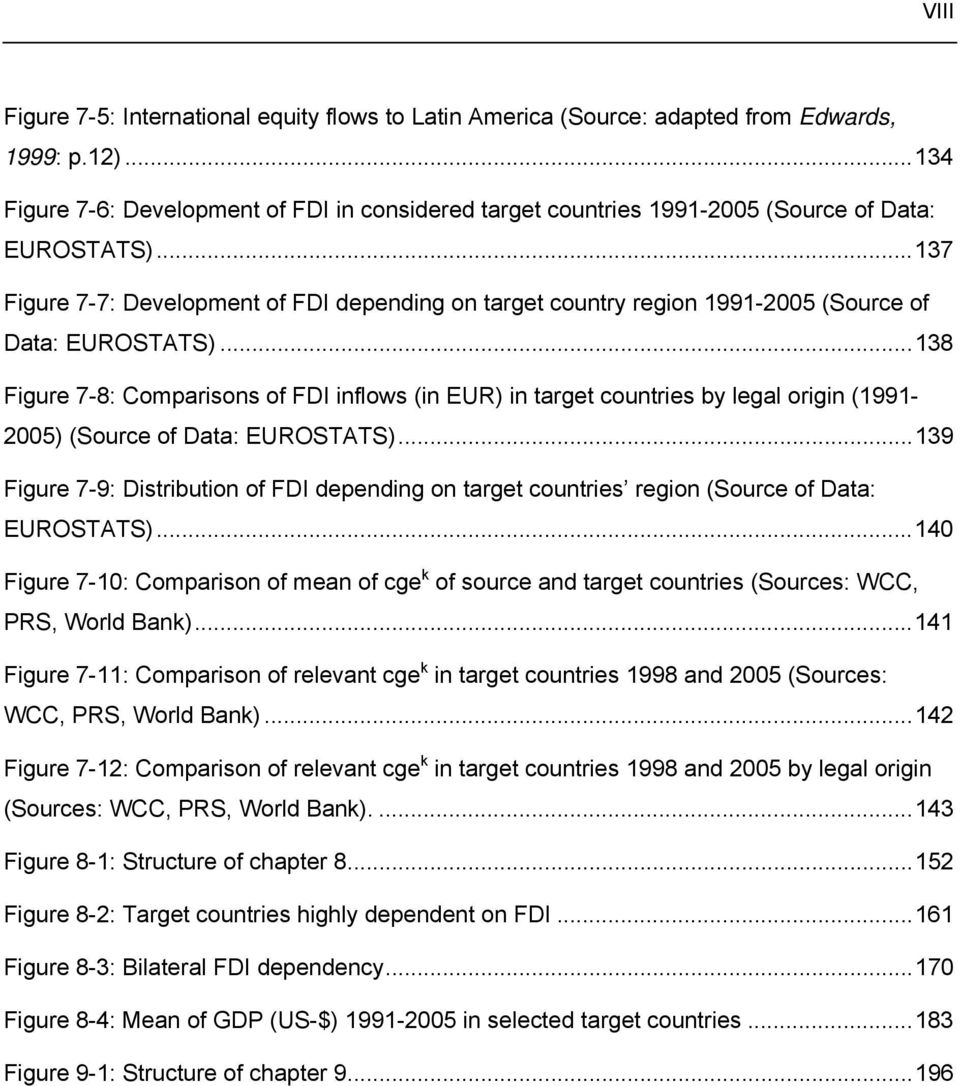 ..137 Figure 7-7: Development of FDI depending on target country region 1991-2005 (Source of Data: EUROSTATS).