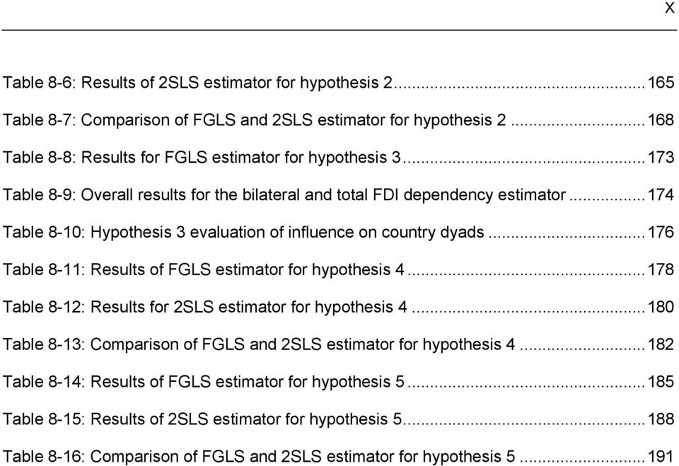 ..174 Table 8-10: Hypothesis 3 evaluation of influence on country dyads...176 Table 8-11: Results of FGLS estimator for hypothesis 4.