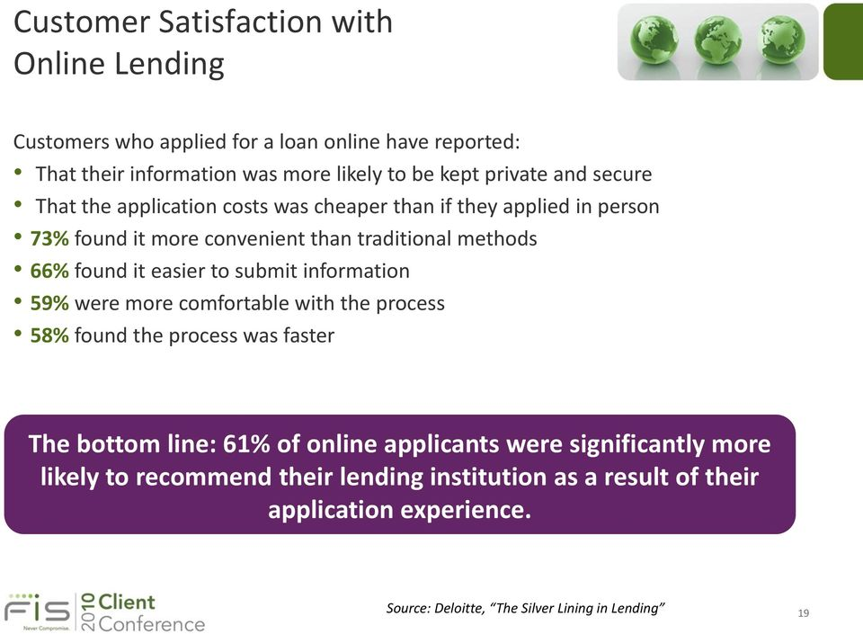 it easier to submit information 59% were more comfortable with the process 58% found the process was faster The bottom line: 61% of online applicants