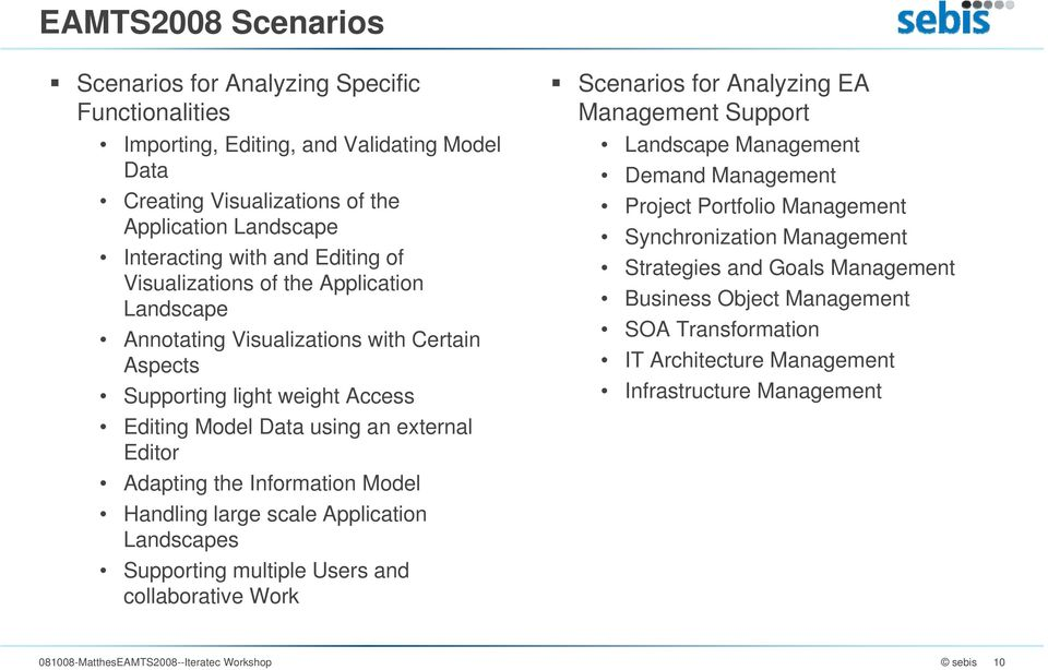 Handling large scale Application Landscapes Supporting multiple Users and collaborative Work Scenarios for Analyzing EA Management Support Landscape Management Demand Management Project Portfolio