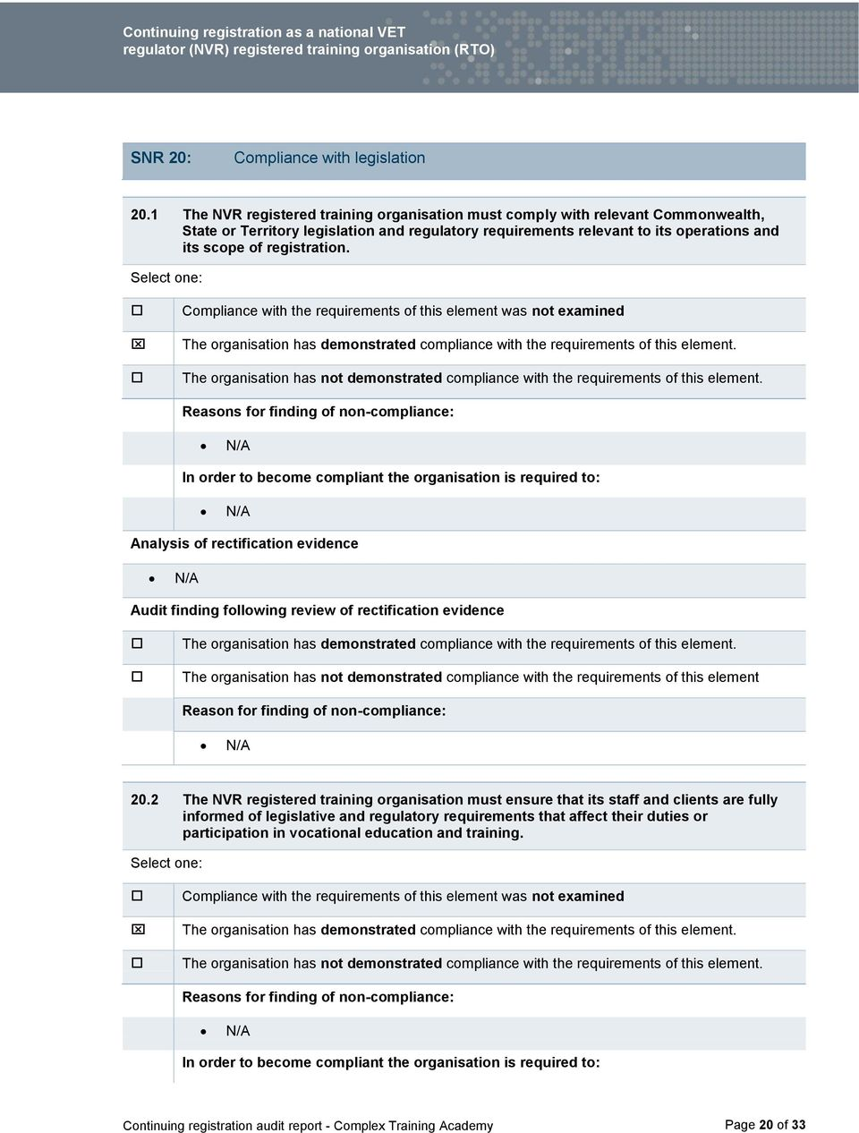regulatory requirements relevant to its operations and its scope of registration.. 20.