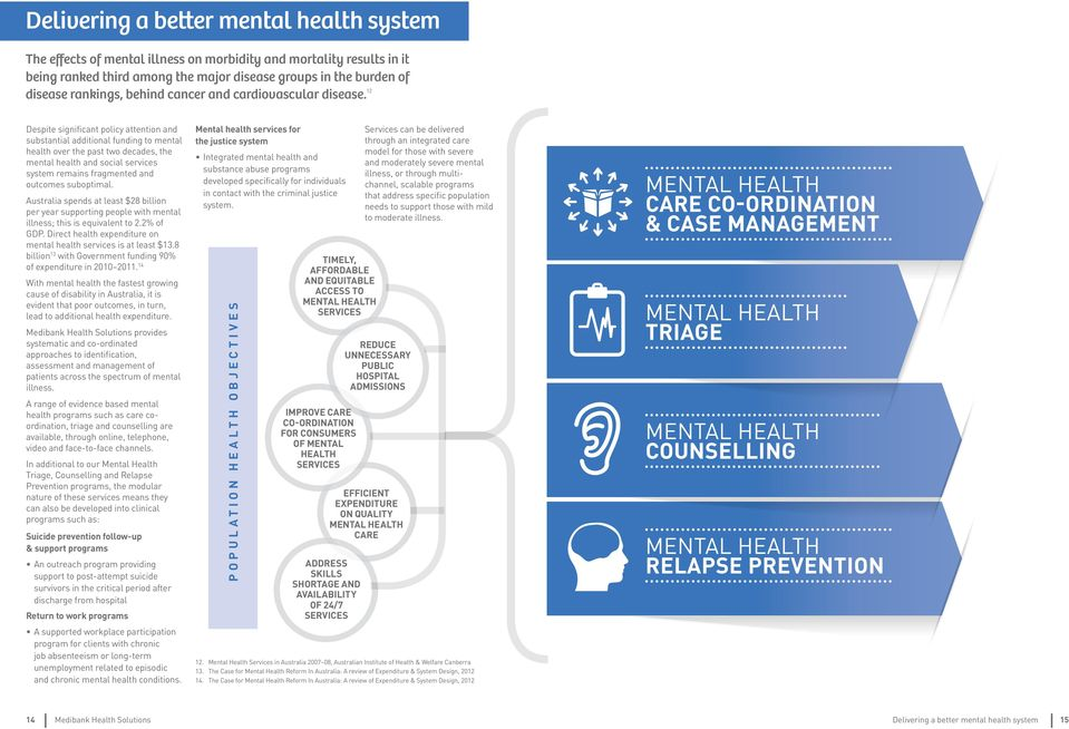 12 Despite significant policy attention and substantial additional funding to mental health over the past two decades, the mental health and social services system remains fragmented and outcomes