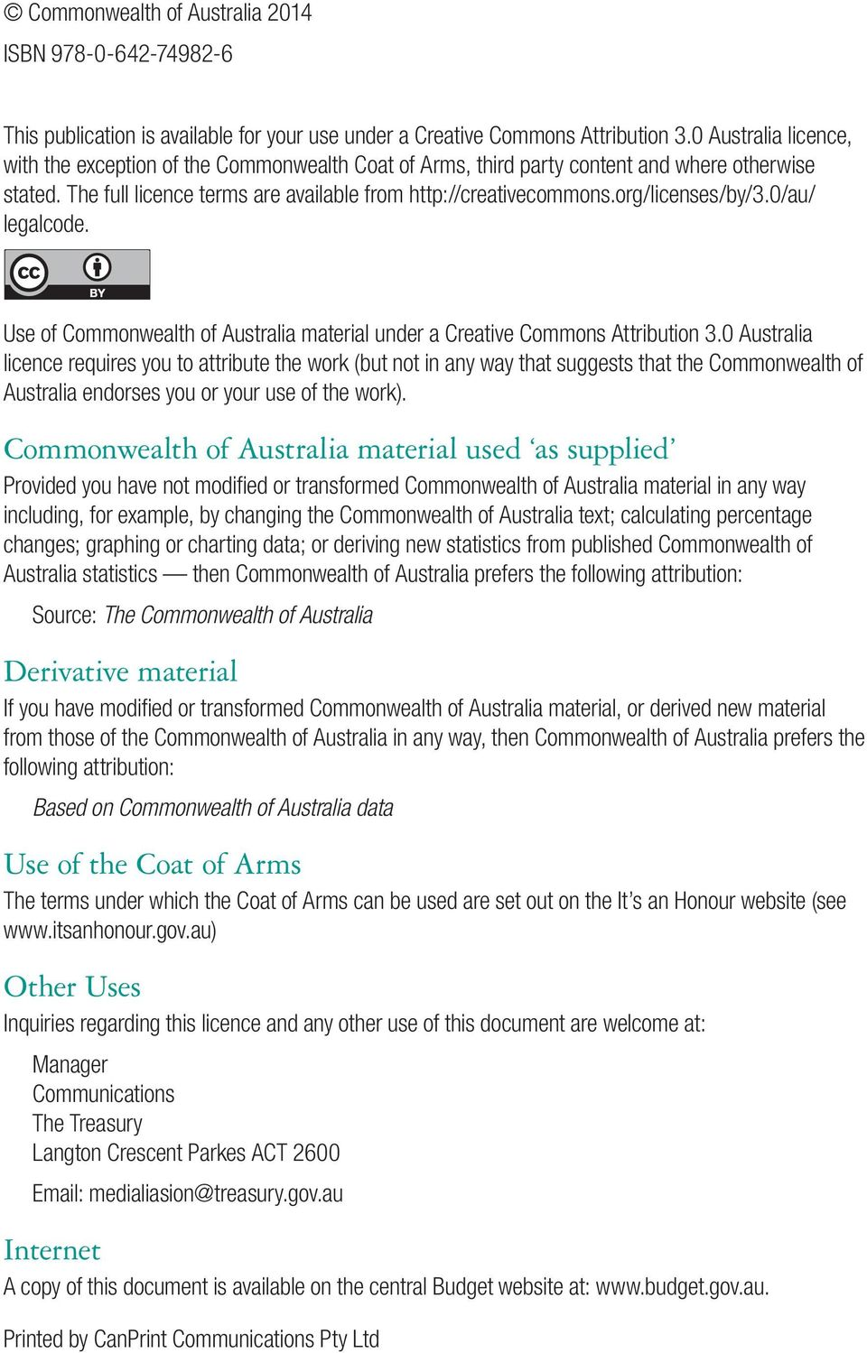 org/licenses/by/3.0/au/ legalcode. Use of Commonwealth of Australia material under a Creative Commons Attribution 3.