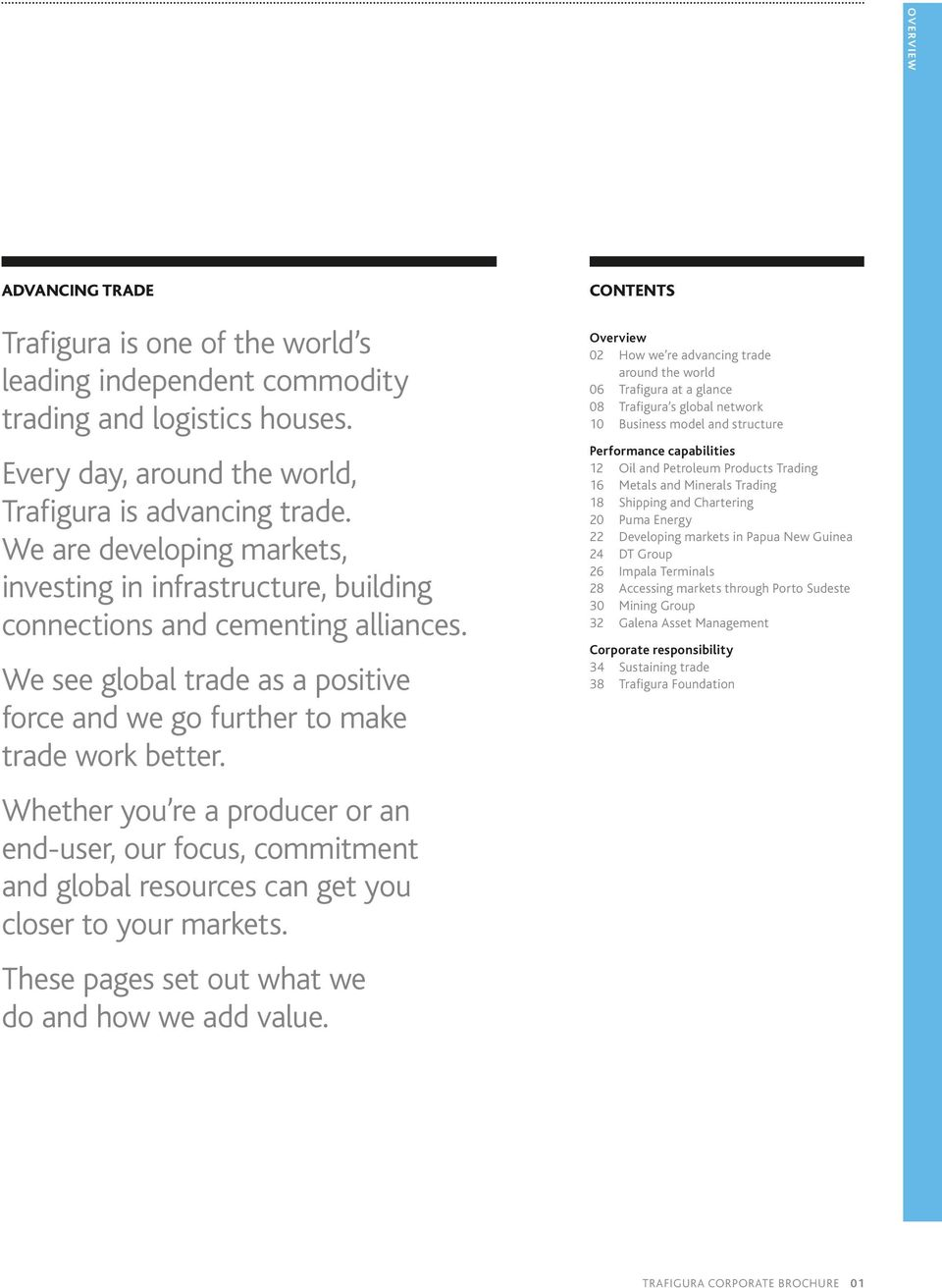 ENGLISH ADVANCING TR ADE TRAFIGURA GROUP CORPORATE BROCHURE