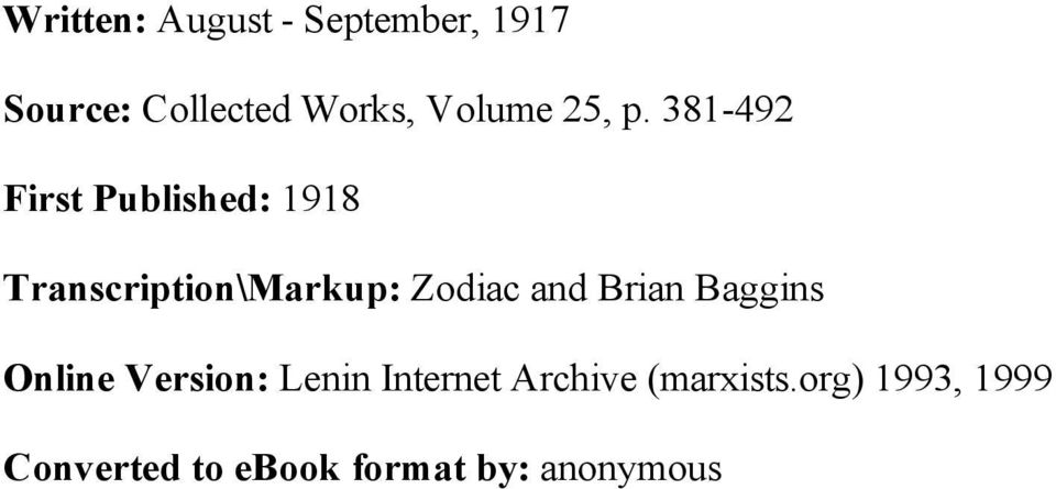 381 492 First Published: 1918 Transcription\Markup: Zodiac and