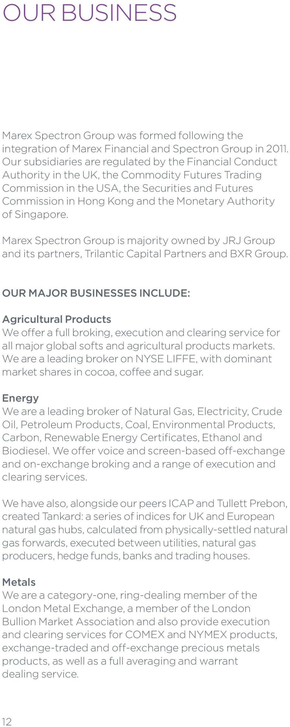 Authority of Singapore. Marex Spectron Group is majority owned by JRJ Group and its partners, Trilantic Capital Partners and BXR Group.