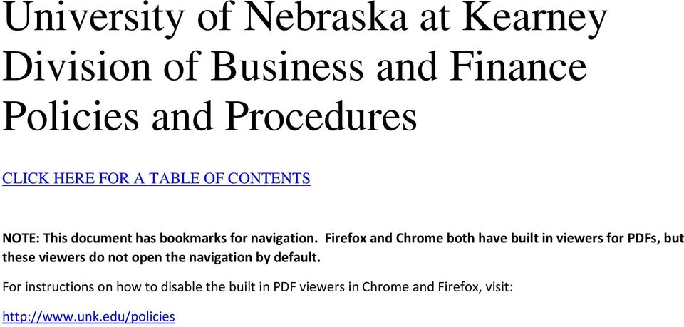 Firefox and Chrome both have built in viewers for PDFs, but these viewers do not open the navigation