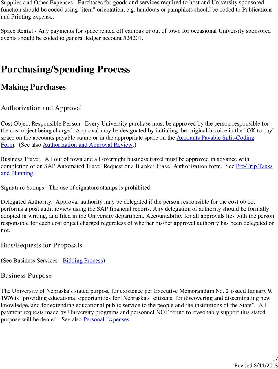 Purchasing/Spending Process Making Purchases Authorization and Approval Cost Object Responsible Person.