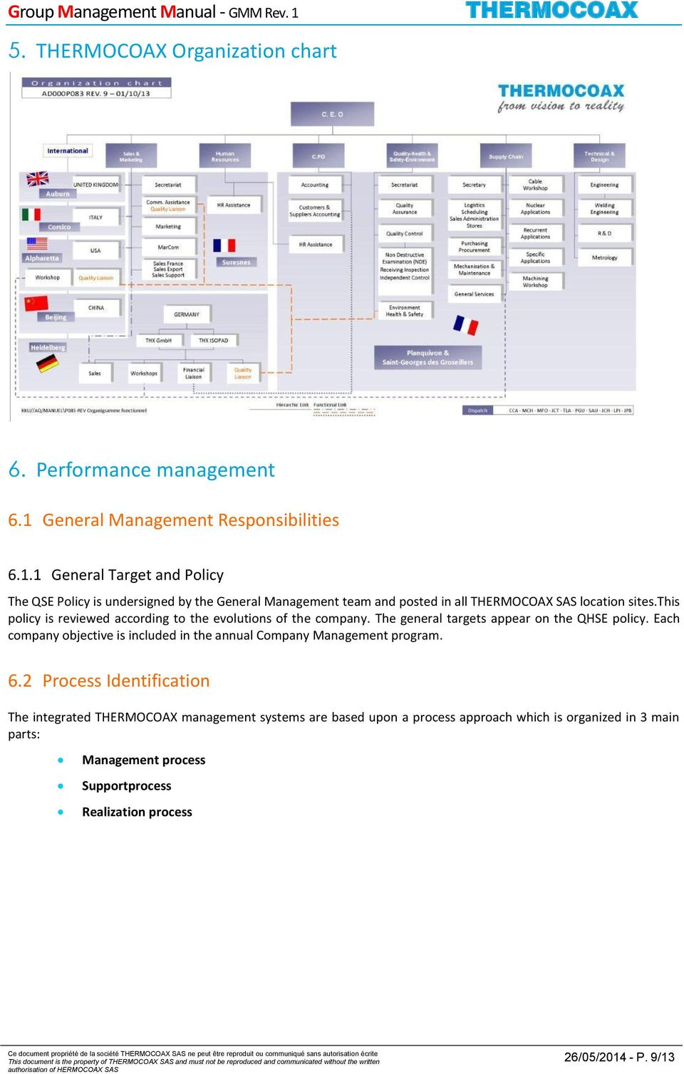 2 Process Identification The integrated management systems are based upon a process approach which is organized in 3 main parts: Management process Supportprocess Realization process Ce document