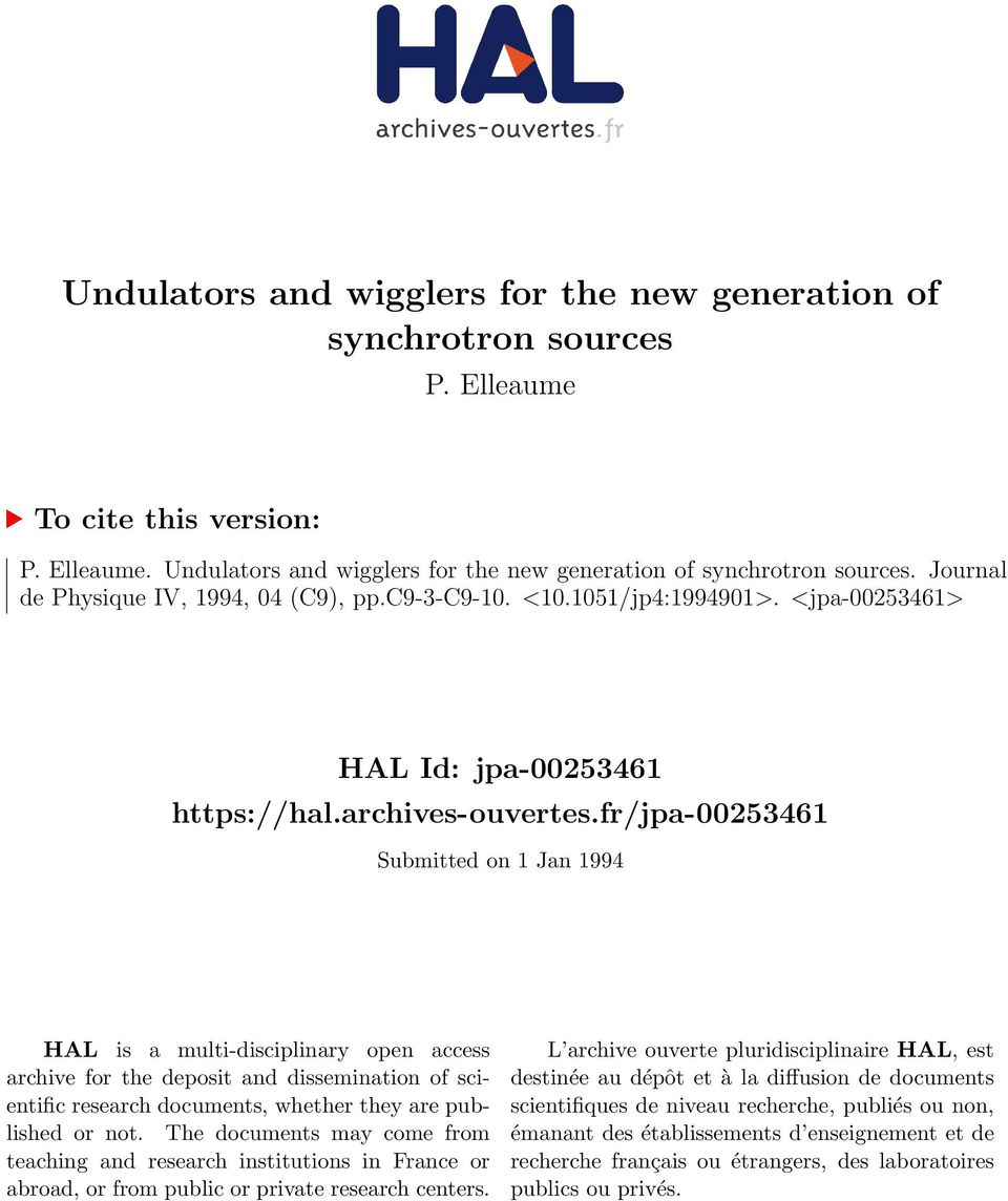 fr/jpa-00253461 Submitted on 1 Jan 1994 HAL is a multi-disciplinary open access archive for the deposit and dissemination of scientific research documents, whether they are published or not.