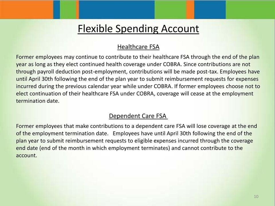 Employees have until April 30th following the end of the plan year to submit reimbursement requests for expenses incurred during the previous calendar year while under COBRA.