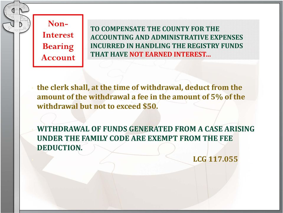 deduct from the amount of the withdrawal a fee in the amount of 5% of the withdrawal but not to exceed $50.