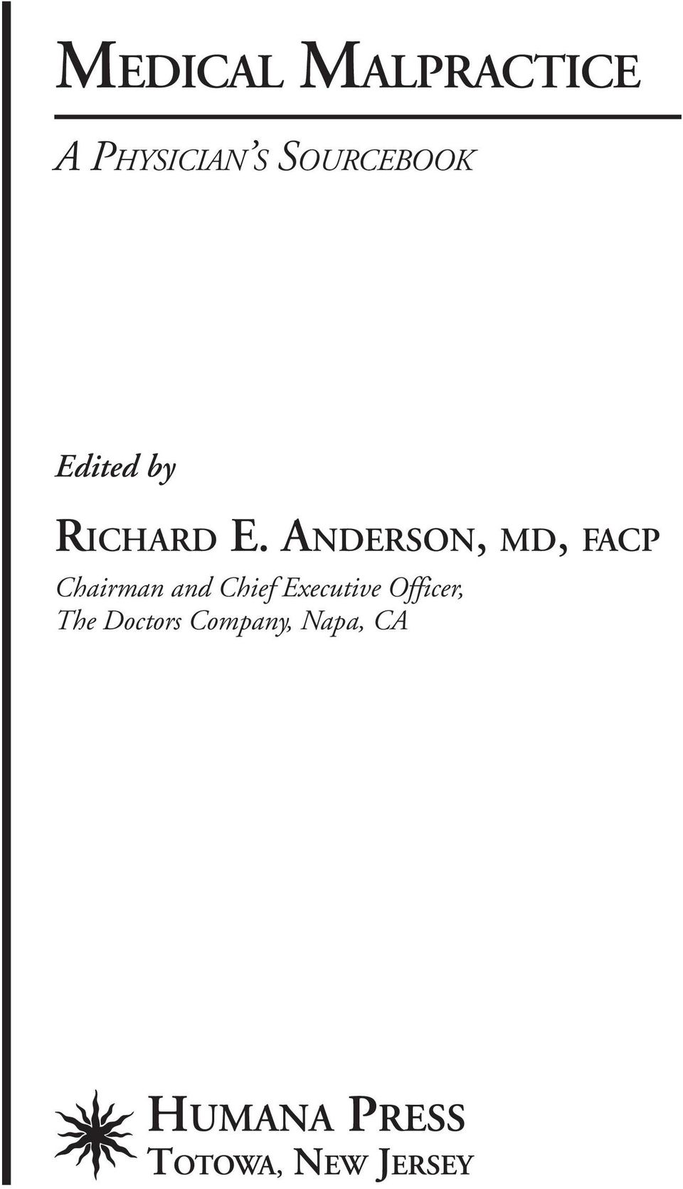 ANDERSON, MD, FACP Chairman and Chief
