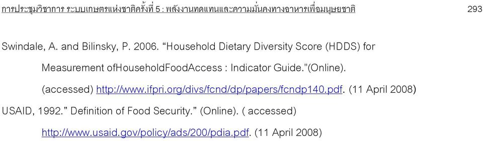 "Household Dietary Diversity Score (HDDS) for Measurement ofhouseholdfoodaccess : Indicator Guide.""(Online)."