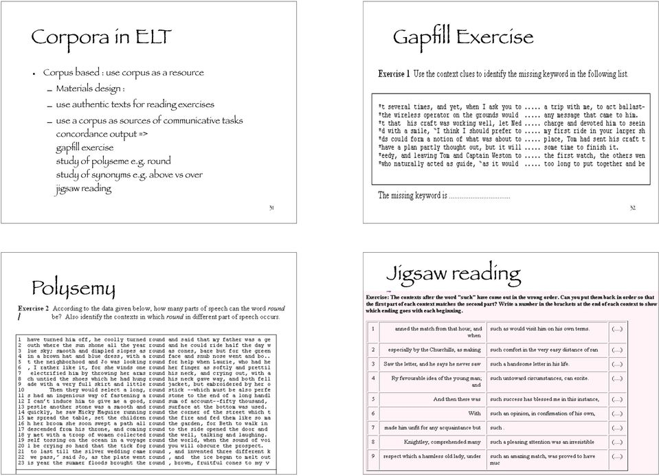 communicative tasks concordance output => gapfill exercise study of polyseme e.g. round study of synonyms e.