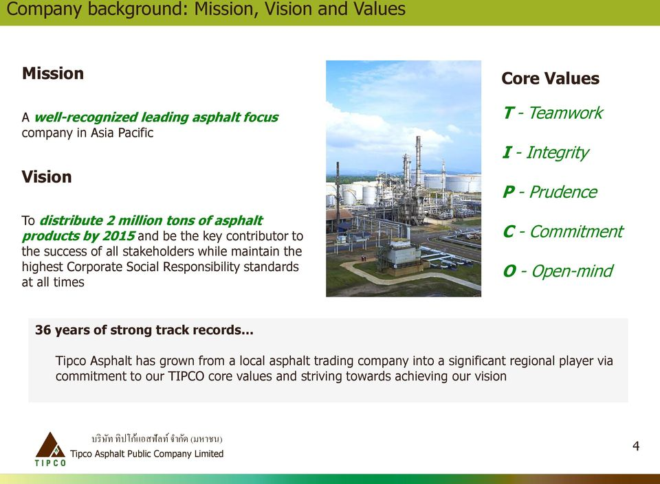standards at all times Core Values T - Teamwork I - Integrity P - Prudence C - Commitment O - Open-mind 36 years of strong track records Tipco Asphalt has