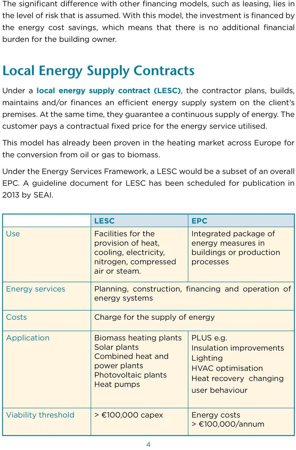 Local Energy Supply Contracts Under a local energy supply contract (LESC), the contractor plans, builds, maintains and/or finances an efficient energy supply system on the client s premises.