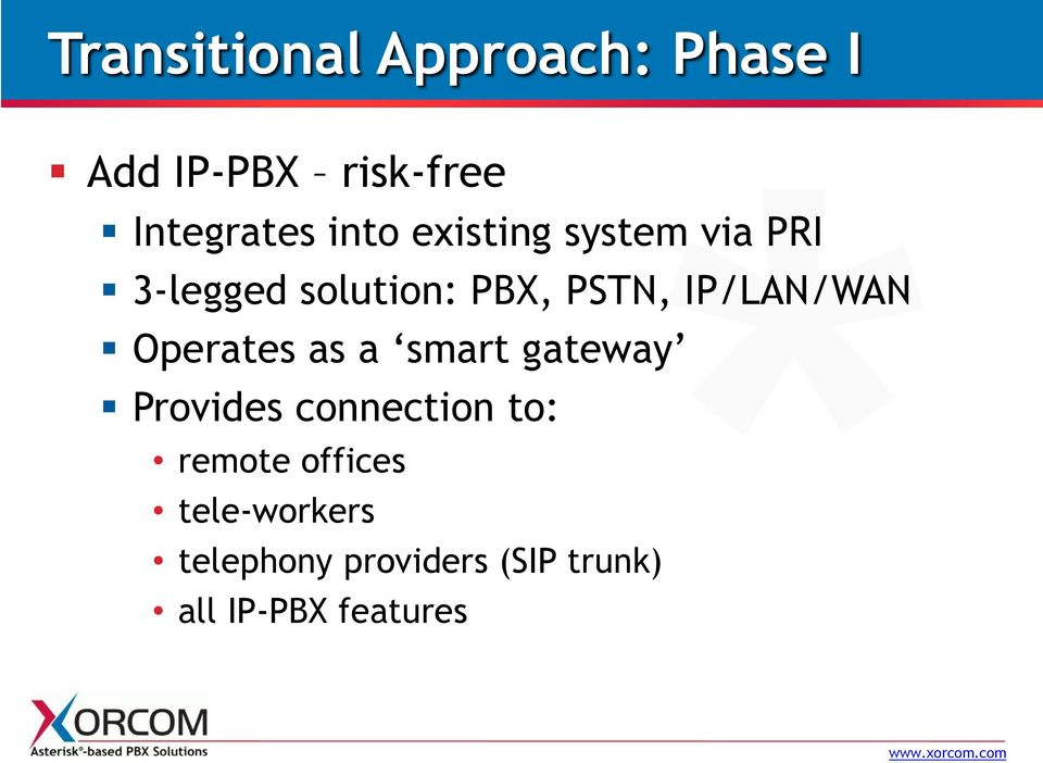 IP/LAN/WAN Operates as a smart gateway Provides connection to: