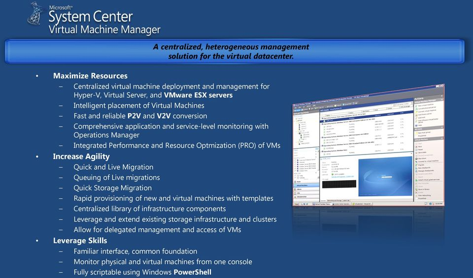 conversion Comprehensive application and service-level monitoring with Operations Manager Integrated Performance and Resource Optmization (PRO) of VMs Increase Agility Quick and Live Migration