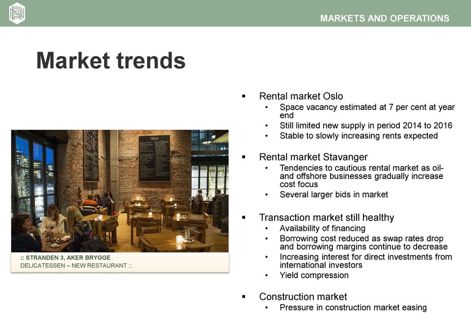 market :: STRANDEN 3, AKER BRYGGE DELICATESSEN NEW RESTAURANT :: Transaction market still healthy Availability of financing Borrowing cost reduced as swap rates drop and