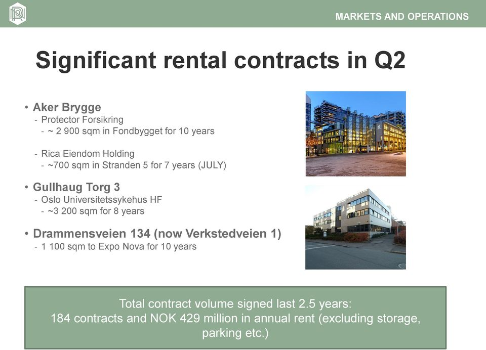 Universitetssykehus HF ~3 200 sqm for 8 years Drammensveien 134 (now Verkstedveien 1) 1 100 sqm to Expo Nova for 10